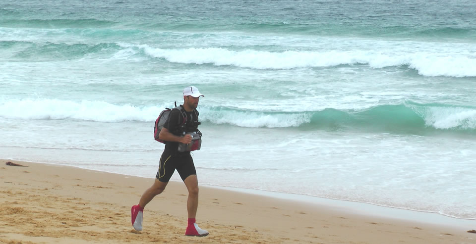 Running on a beach in Australia